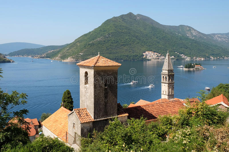 View of town Perast, island of Saint George and Verige Strait in Kotor Bay royalty free stock photo