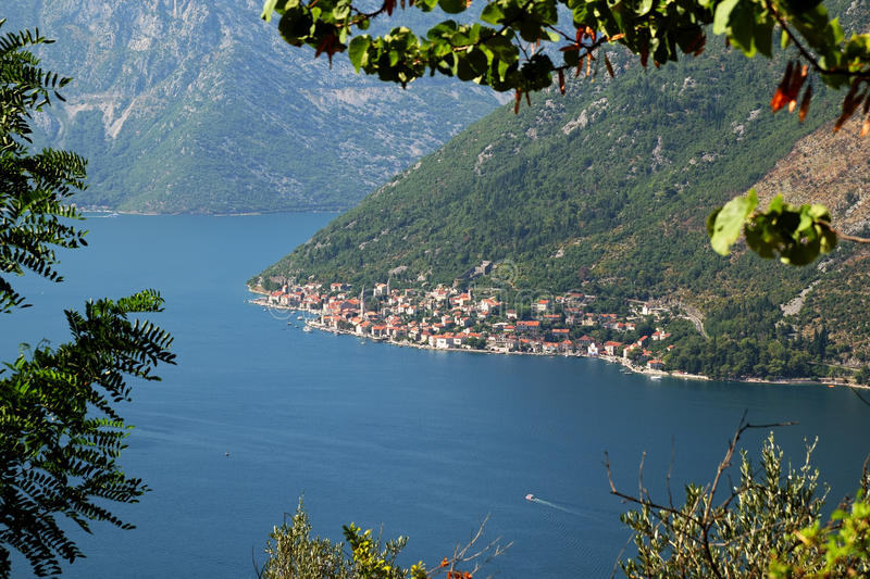 View of town Perast from mount Vrmac, Montenegro stock photo