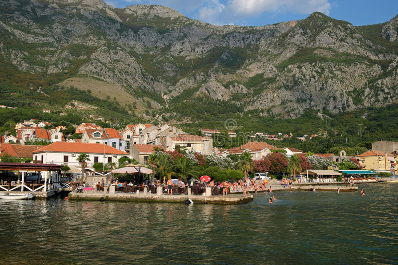 View on town of Risan, Montenegro stock image