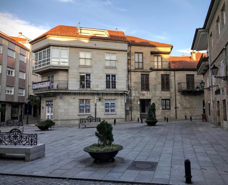 View of the town square with bushes and benches at Cambados Galicia Spain royalty free stock photography