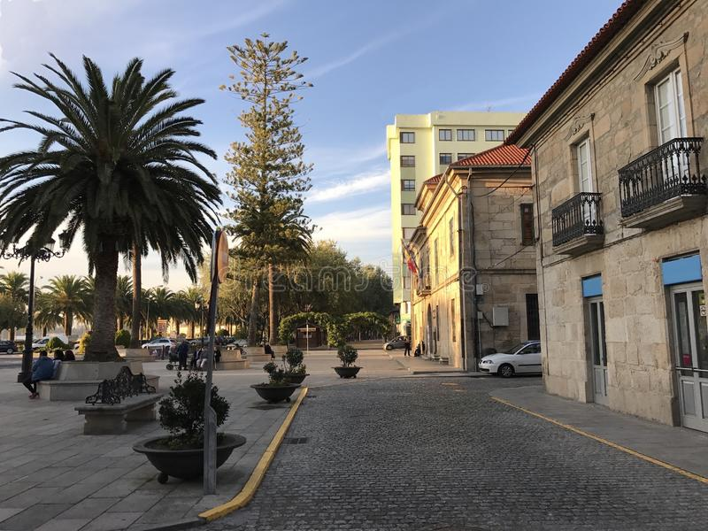 View of the town square with palm trees bushes and benches at Cambados Galicia Spain stock photos