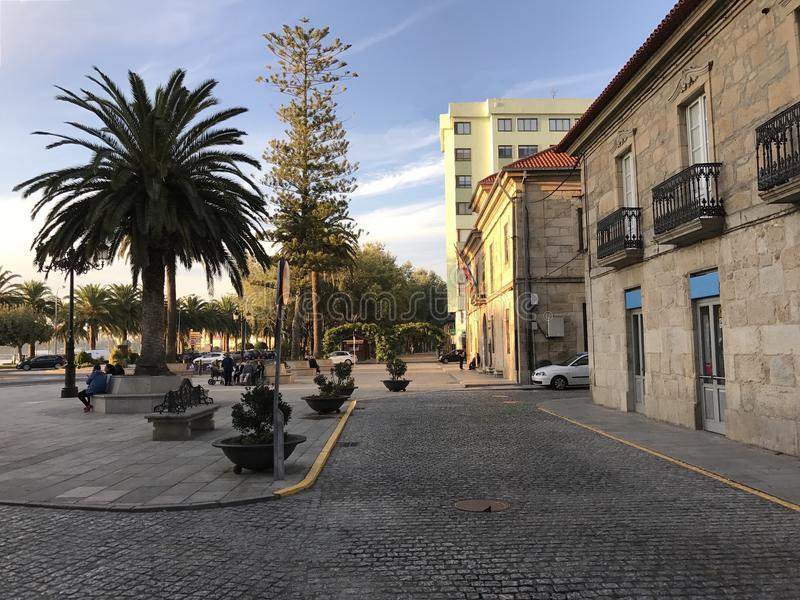 View of the town square with palm trees bushes and benches at Cambados Galicia Spain stock images