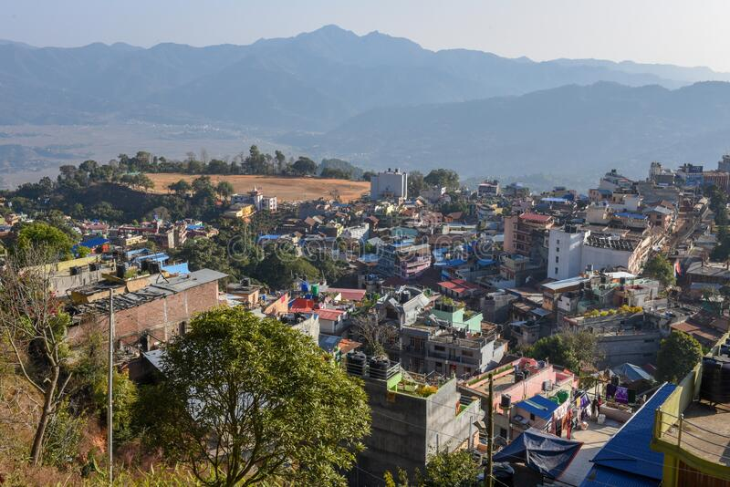 View at the town of Tansen in Nepal. View at the town of Tansen on Nepal stock images