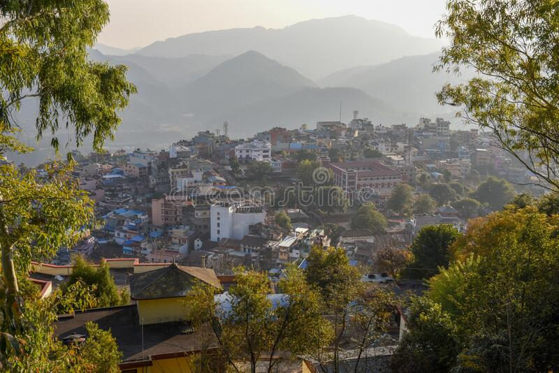 View at the town of Tansen on Nepal. View at the town of Tansen in Nepal stock photo
