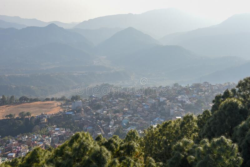View at the town of Tansen on Nepal. View at the town of Tansen in Nepal stock photography