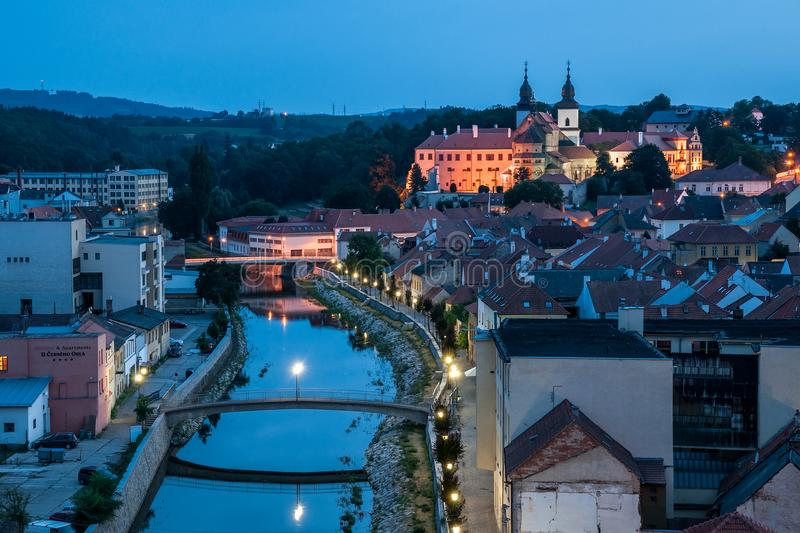 Trebic at Night royalty free stock images