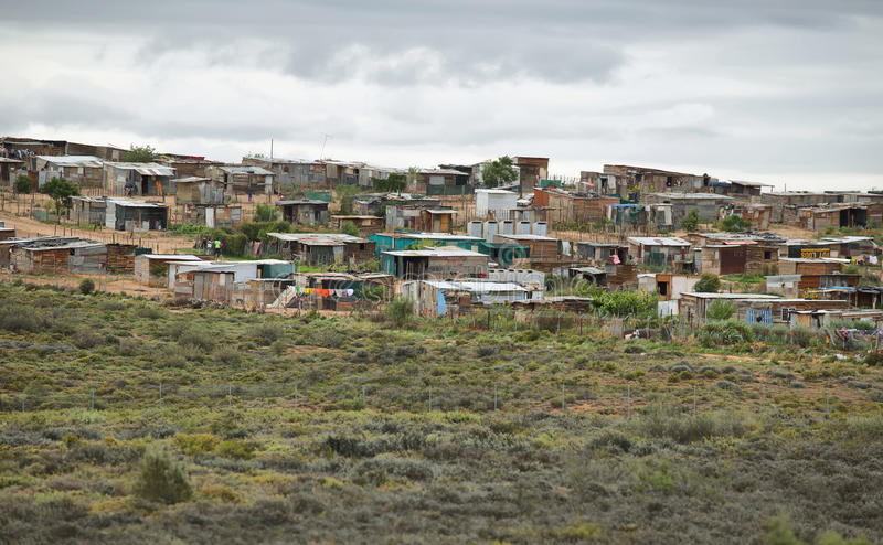 View of a township in South Africa royalty free stock images
