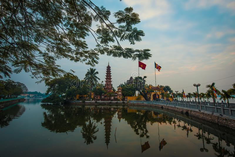 The view of Trấn Quốc Pagoda in Hanoi. The Trấn Quốc Pagoda, in the peaceful location of west lake, in Hanoi, Vietnam royalty free stock photo
