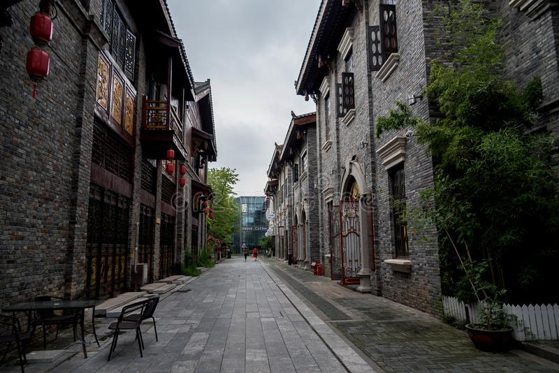 A view of traditional chinese business street  in wuhan city stock photography