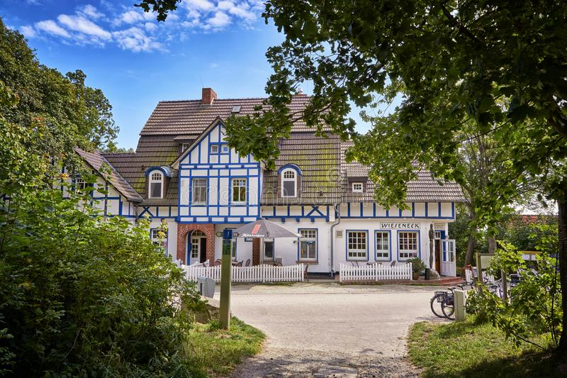 View on a traditional historic building in Kloster on the island Hiddensee, Baltic Sea, Germany. House, architecture, hotel, travel, tourism, coast, cottage royalty free stock photography