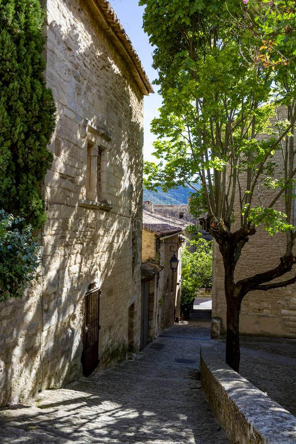 View on traditional and medieval houses in Provence, South of France, vacation and tourist destination stock image