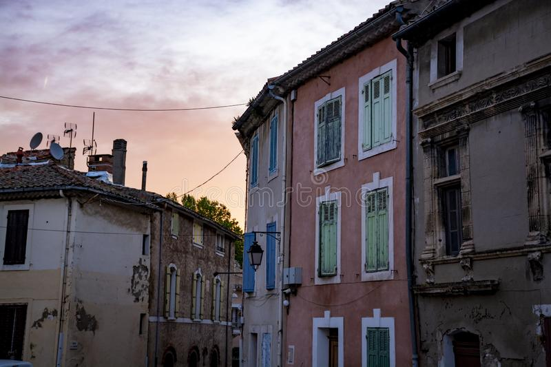 View on traditional and medieval houses in Provence, South of France, vacation and tourist destination stock photography