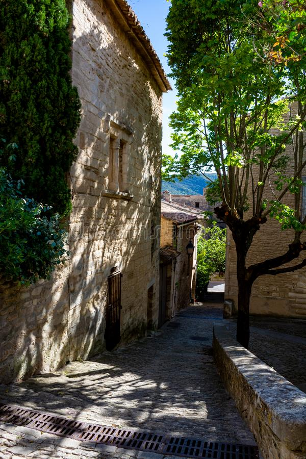 View on traditional and medieval houses in Provence, South of France, vacation and tourist destination stock photo