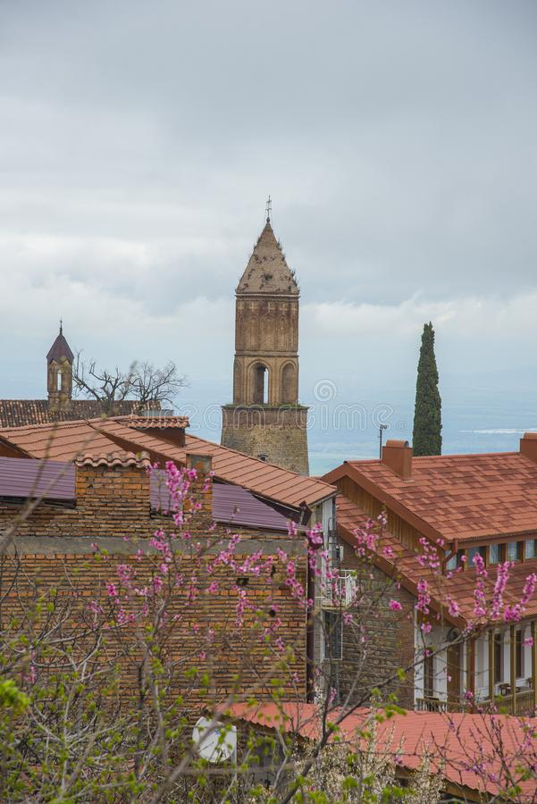 View of traditional old church in Sighnaghi, Georgia. Signagi is a town in Georgia`s easternmost region of Kakheti and the administrative center of the Signagi royalty free stock photography