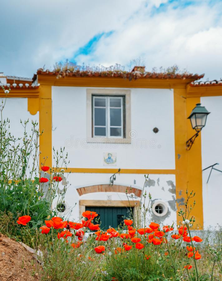 View of traditional Portuguese houses in Constancia, Portugal. View of traditional limestone cozy yellow and white houses at Constancia in the Santarem District royalty free stock image