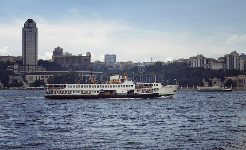View of traditional public ferry boat. On Bosphorus and the European side of Istanbul royalty free stock images