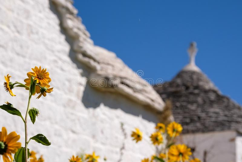 View of traditional trulli houses in the Aia Piccola residential area of Alberobello in the Itria Valley, Puglia Italy. Electrical cables have been edited out stock photos
