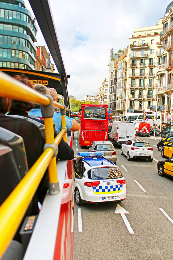 View on traffic from Barcelona Bus Touristic in Barcelona, Spain, Catalonia royalty free stock photography