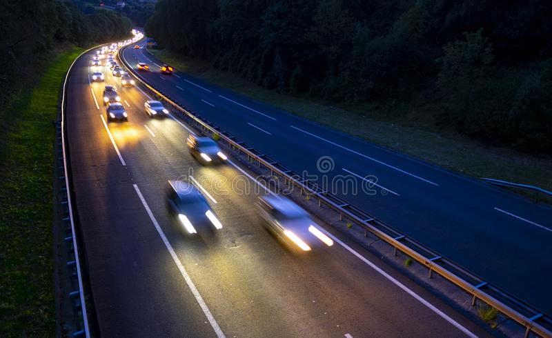 View of traffic car lights on a busy highway stock photos