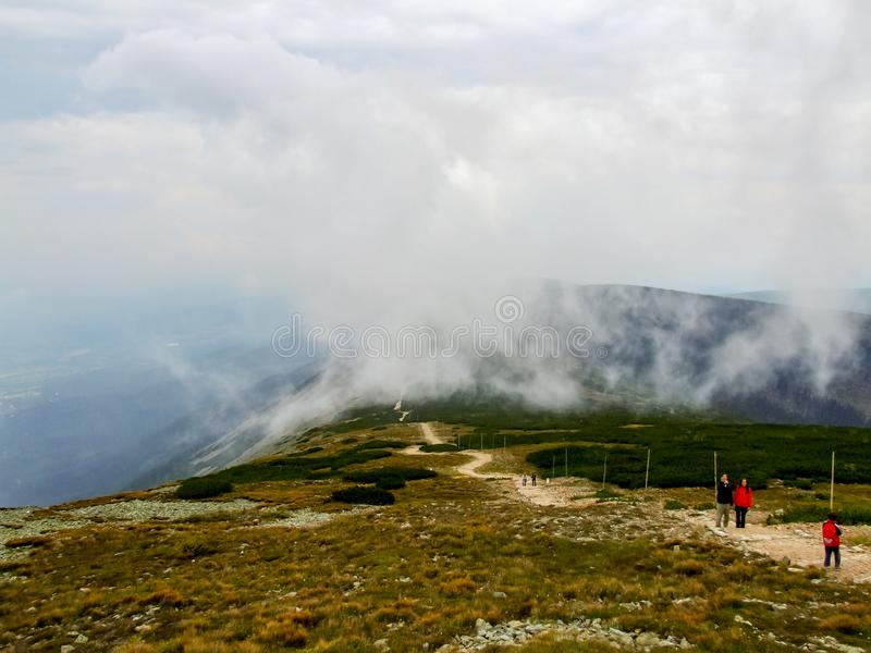 View on trail from Śnieżka mountain. royalty free stock photo