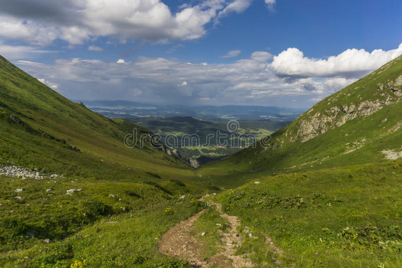 View from a trail Belianske Tatry Mountains Slovakia.  stock images