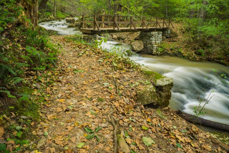 View of Trail, Bridge and Creek at Roaring Run Recreational Area stock photography