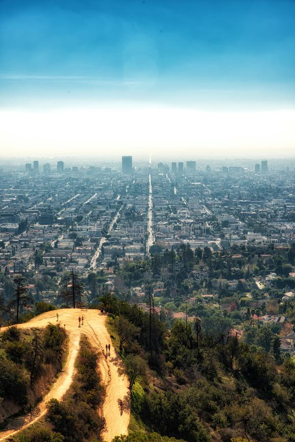 View of trails in Griffith Park and Hollywood from Griffith Observatory, in Los Angeles, California. stock photography