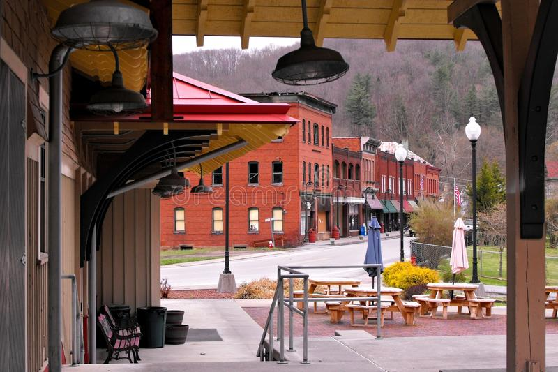 View from the train depot. Of the small downtown in Bramwell, W.Va. The town was once home to coal barons and is now somewhat of a historically preserved stock photography