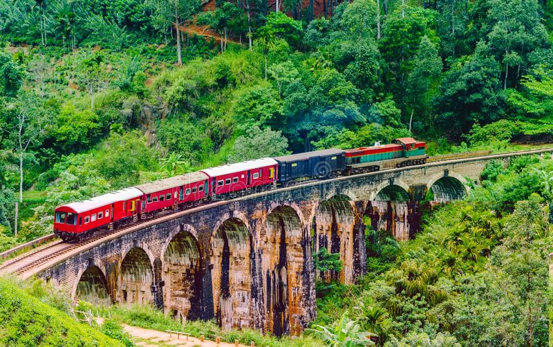 View on Train passing over Nine Arches Bridge in Ella, Sri Lanka. Train passing over Nine Arches Bridge in Ella, Sri Lanka stock image