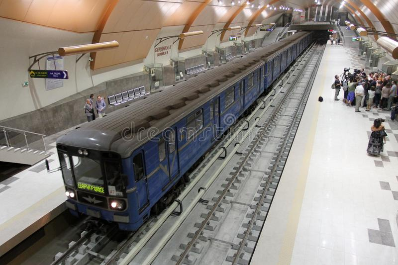 View of trains in metro station in subway in Sofia, Bulgaria – july 24, 2012. stock image