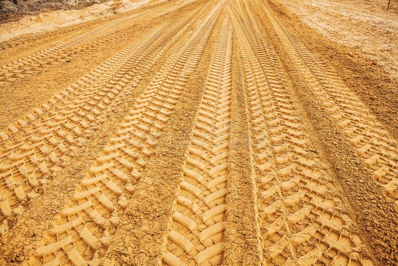 View traks on sand stock image