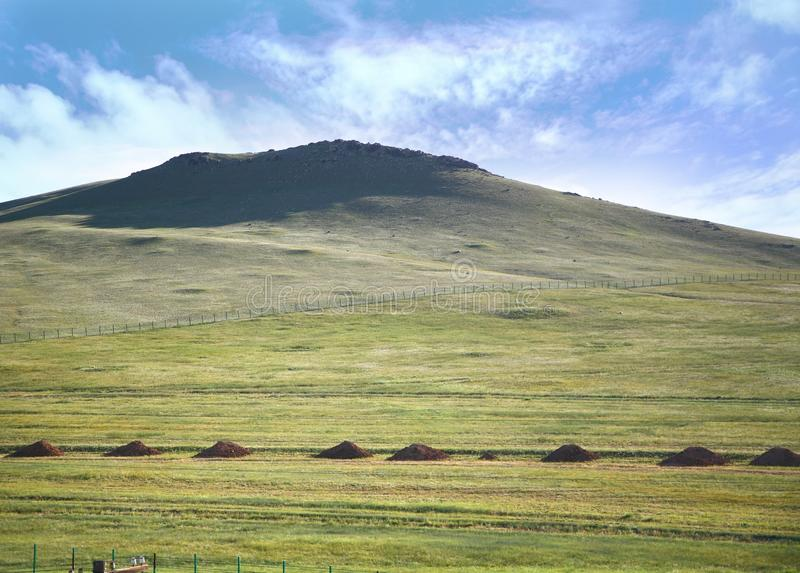 A view from the Trans-Siberian train at Ulaanbaatar , Mongolia royalty free stock image