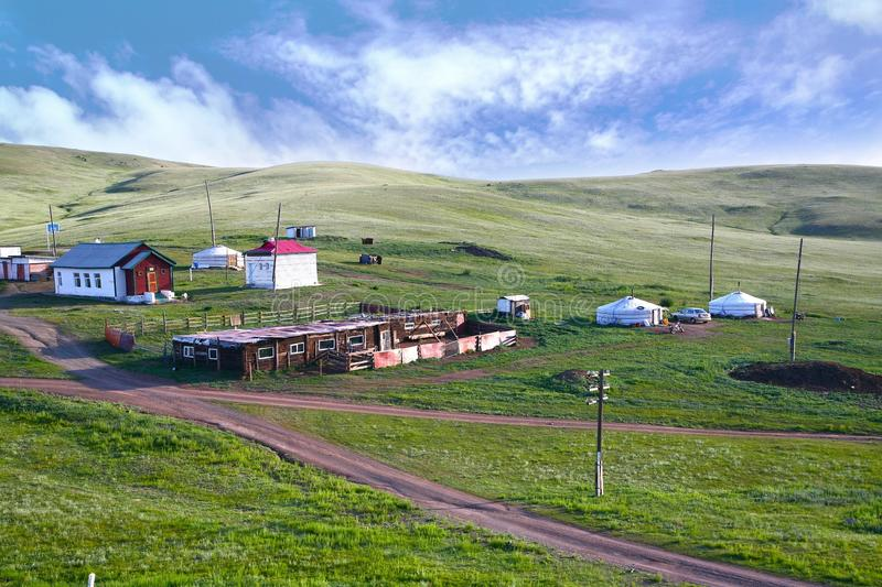 A view from the Trans-Siberian train at Ulaanbaatar , Mongolia royalty free stock photography