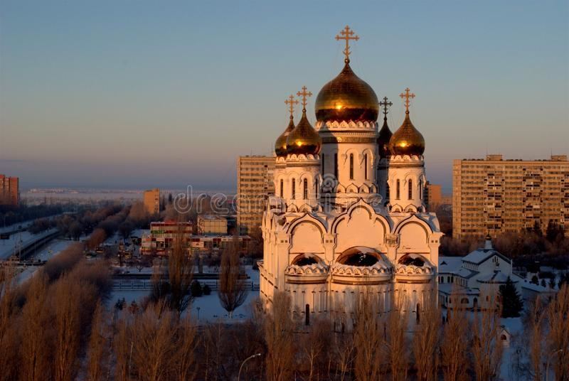 View of the Transfiguration Cathedral in the city of Togliatti in the early winter morning. stock images