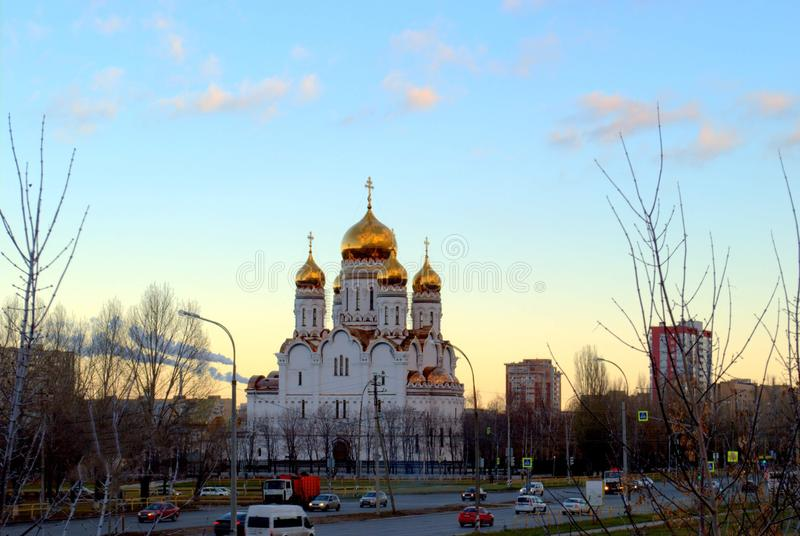 View of the Transfiguration Cathedral in the early autumn morning. In the city of Togliatti stock images