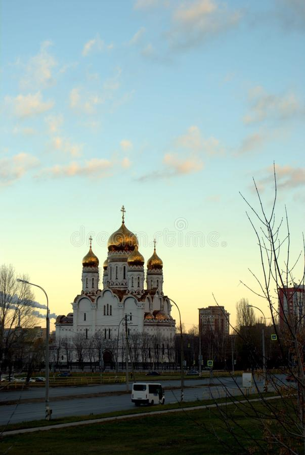 View of the Transfiguration Cathedral in the early autumn morning. In the city of Togliatti royalty free stock image
