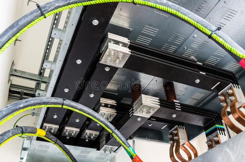 View on transformer connection to busbar stock photos