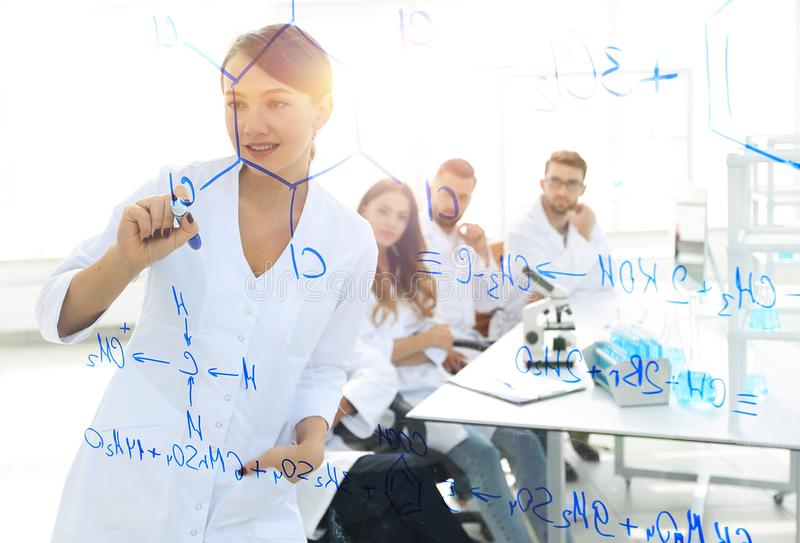 View through the transparent Board. female scientist makes a report to colleagues. Concept of research stock images
