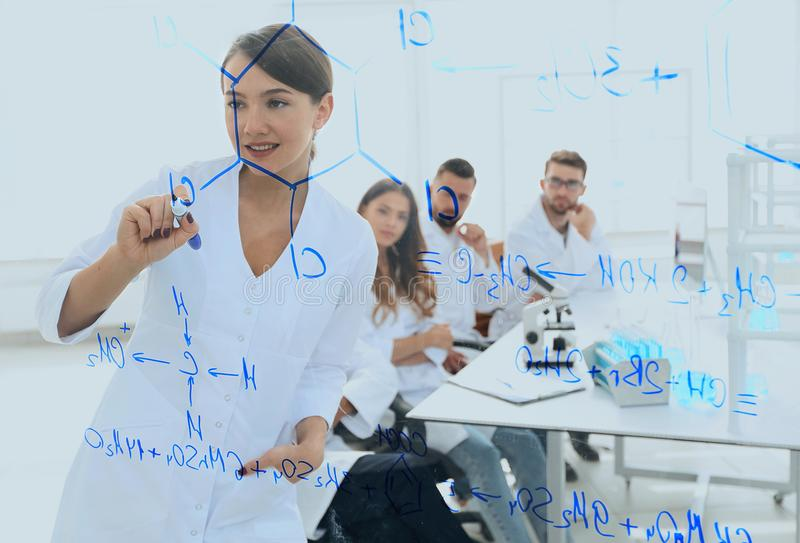 View through the transparent Board. female scientist makes a report to colleagues. Concept of research royalty free stock photography