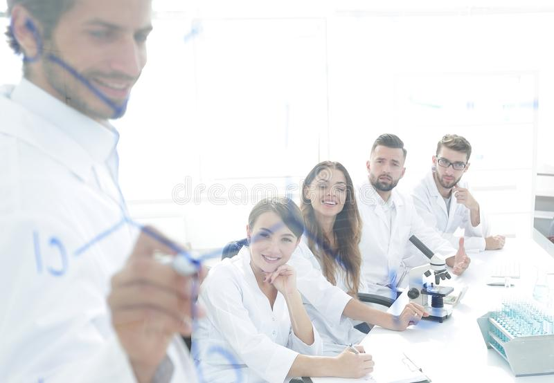 View through the transparent Board. a scientist makes a report. The concept of education royalty free stock images