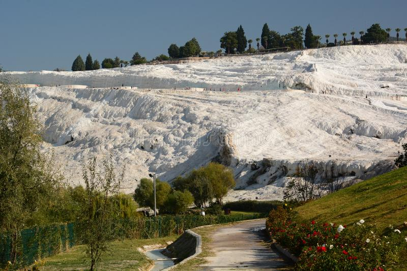 View of travertine terraces from Natural Park. Pamukkale. Denizli province. Turkey. Pamukkale, meaning cotton castle in Turkish, is a natural site in Denizli in royalty free stock images
