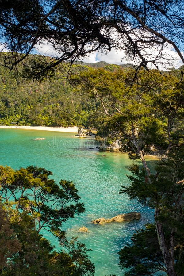 A view through the trees of an inlet and beach at the incredibly beautiful Able Tasman National Park, South Island, New Zealand. Nobody in the image stock photography