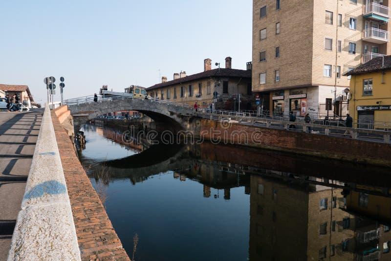 View of Trezzano sul naviglio `s bridge. Lombardy, Italy royalty free stock photography