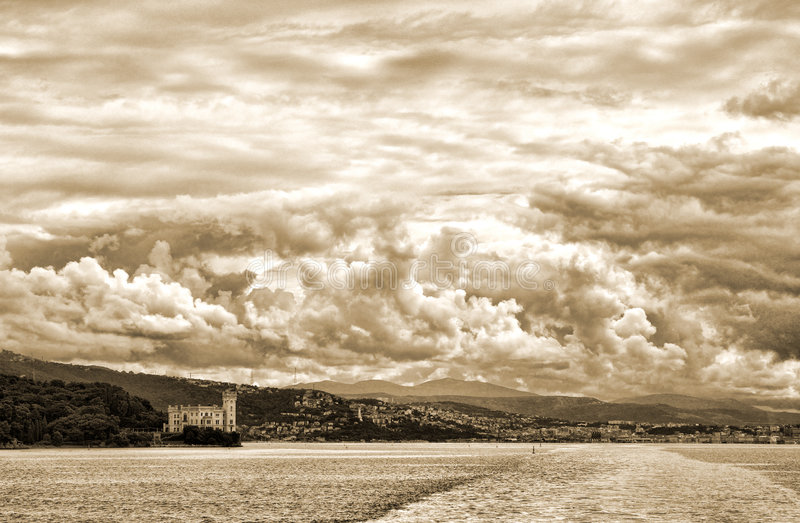 View on Trieste harbour stock image