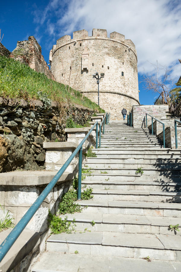 View on Trigonion Tower in Thessaloniki, Greece stock photography