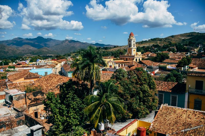 A view of Trinidad, Cuba. A high view of the city and church in Trinidad, Cuba stock image