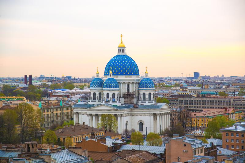 View of the Trinity Cathedral in the morning in St. Petersburg, Russia. royalty free stock images
