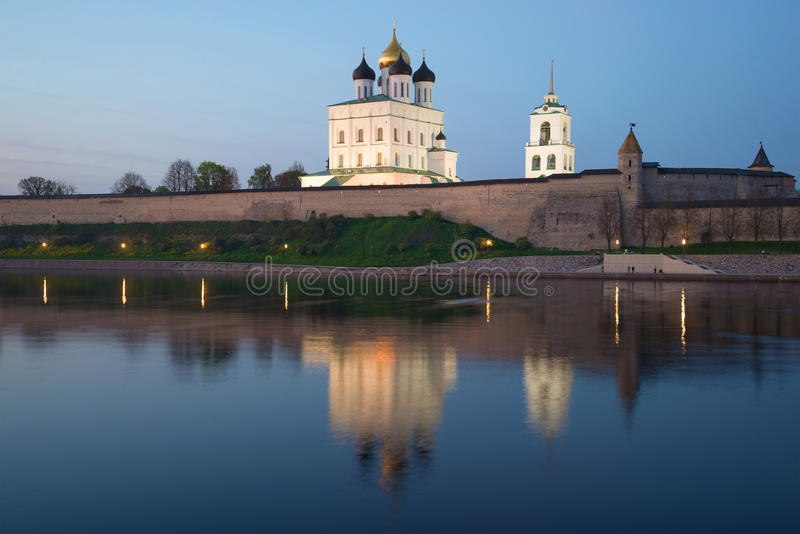 View of Trinity Cathedral in the Pskov Kremlin in May twilight. Pskov. Russia royalty free stock images