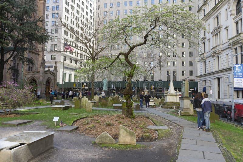 View of Trinity Church Cemetery in Lower Manhattan in New York City, USA stock photo