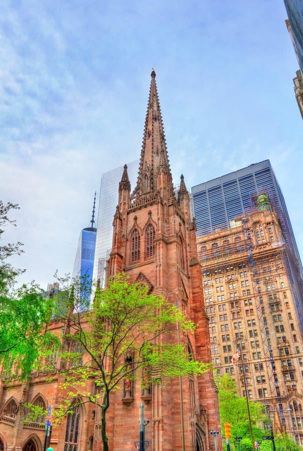 View of Trinity Church in Manhattan, New York City royalty free stock photos